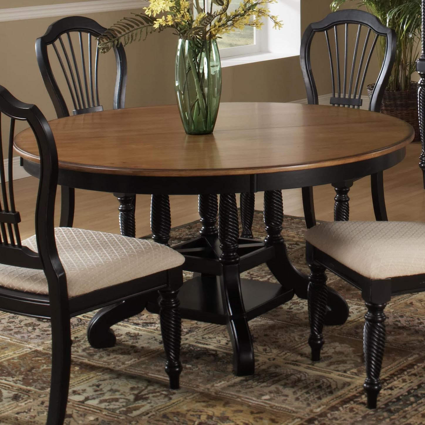 hillsdale wilshire round two-tone leaf dining table - westrich