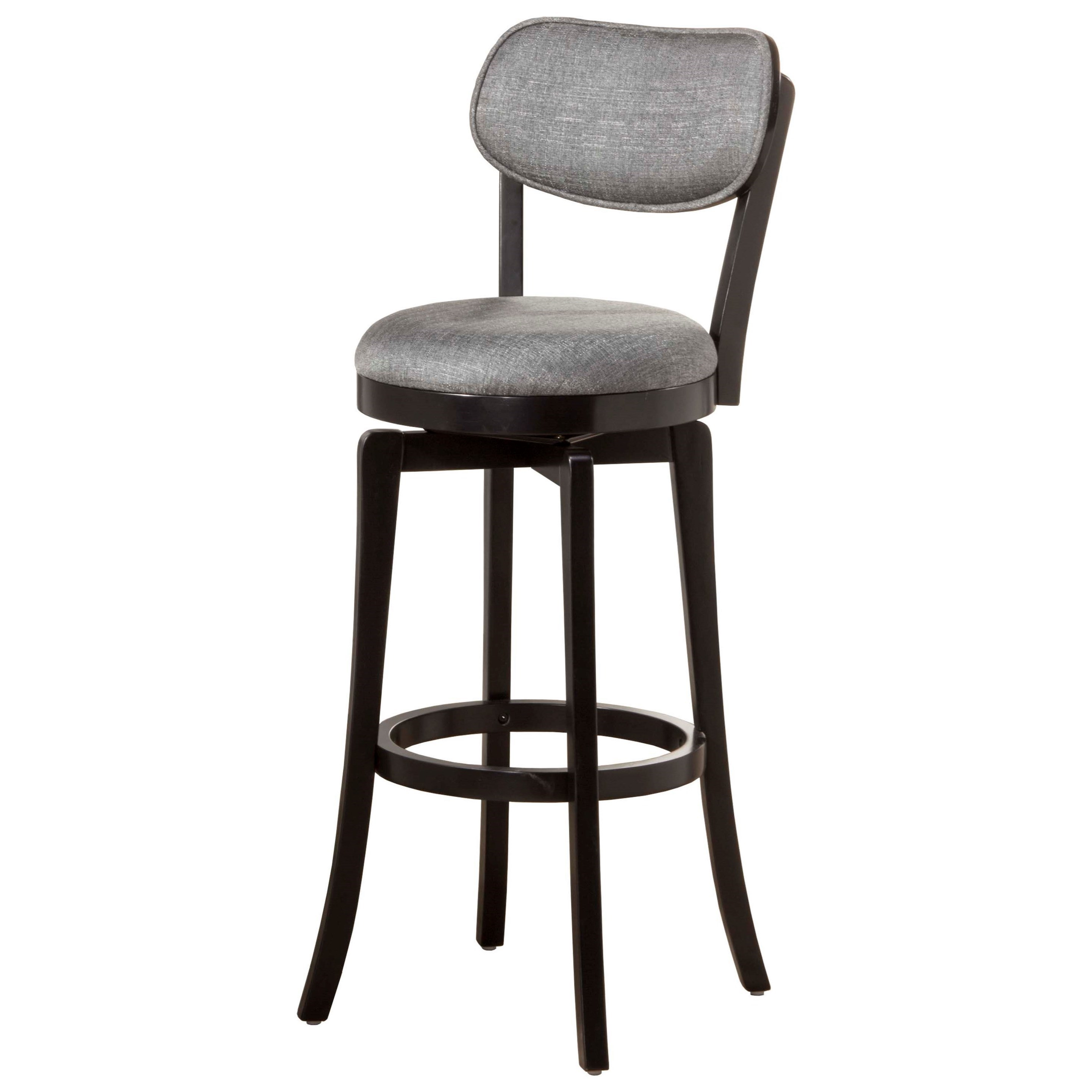 Image of: Hillsdale Wood Stools Swivel Bar Stool With Gray Full Back Rest Furniture Barn Bar Stools