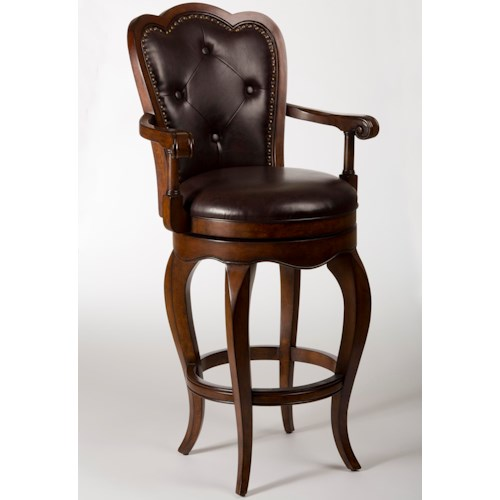 Hillsdale Wood Stools Eastwind Swivel Bar Stool with Button Tufting