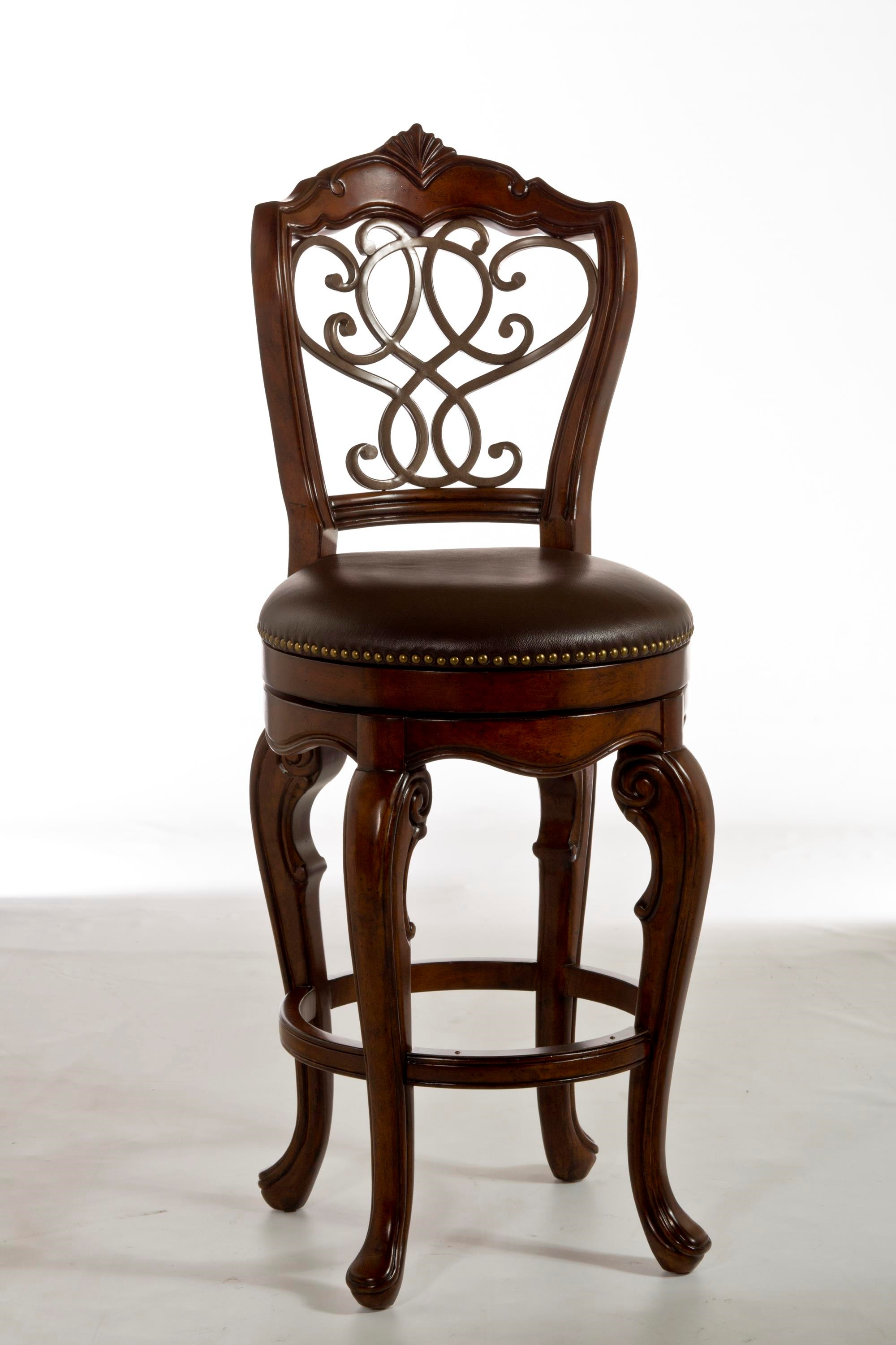 Hillsdale Wood Stools Burrell Swivel Bar Stool With Scroll