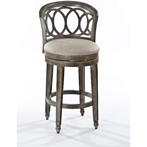 Hillsdale Wood Stools Swivel Counter Height Stool with Interlocking Ring Design