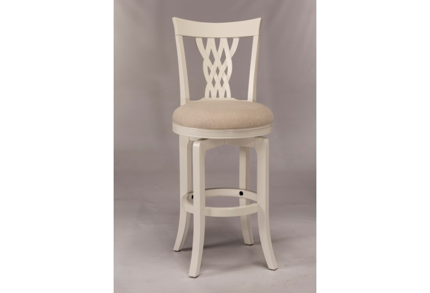 Hillsdale Wood Stools White Swiveling Bar Stool With Braided Wooden Back Godby Home Furnishings Bar Stools