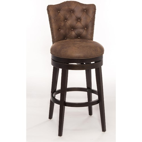 Hillsdale Wood Stools Swivel Counter Stool with Upholstered Seat