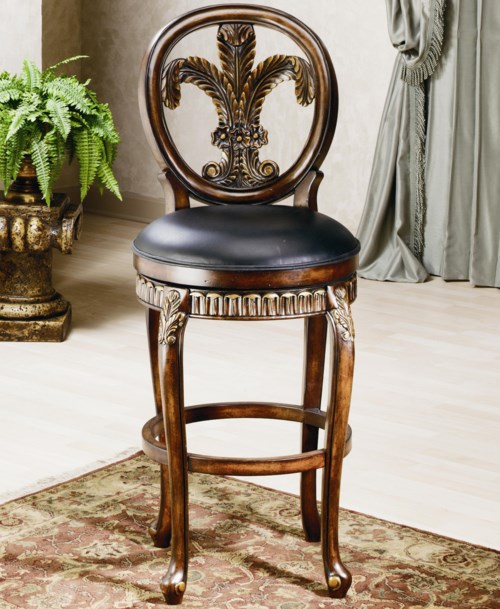 Hillsdale Wood Stools 31 Quot Bar Height Fleur De Lis Stool