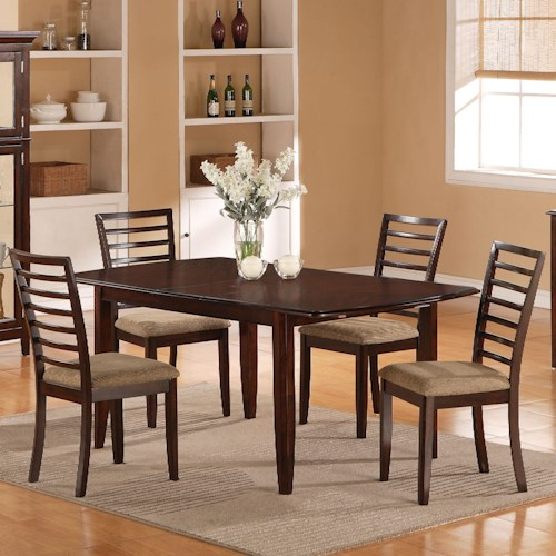 Holland House 1237 Dining Five-Piece Butterfly Leaf Table and Ladder Back Chair Dining Set