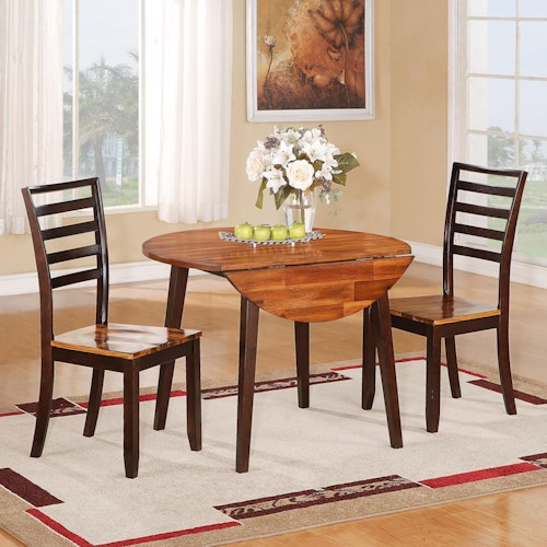 Holland House 1267 Dining Casual Three Piece Round Drop Leaf Table and Ladder Backed Chair Set