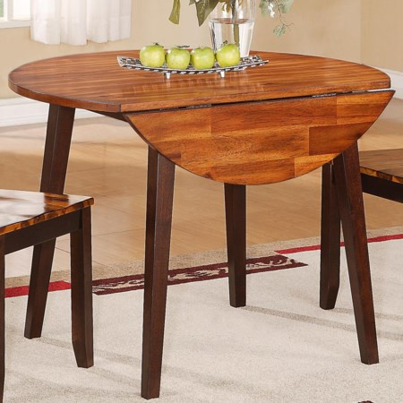 "Round Table with Two 8.5"" Drop Leaves"