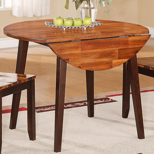 Holland House 1267 Dining Casual Round Table with Two Drop Leaves
