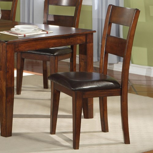 Warehouse M 1279 Dining Room Ladder Back Side Chair with Upholstered Seat