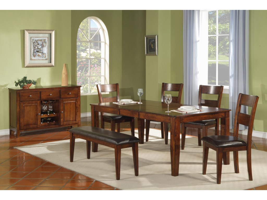 Shown in Room Setting with Dining Table, Ladder Back Side Chairs and Serving Table