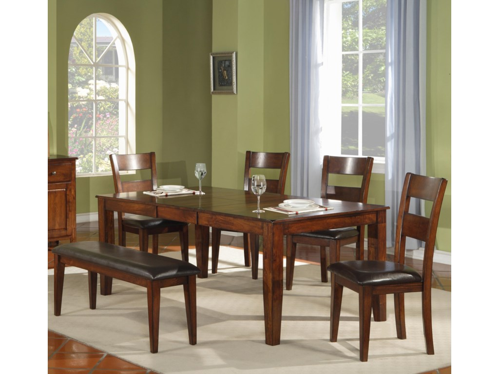 Holland House 1279Leg Table with Ladder Back Chairs and Bench