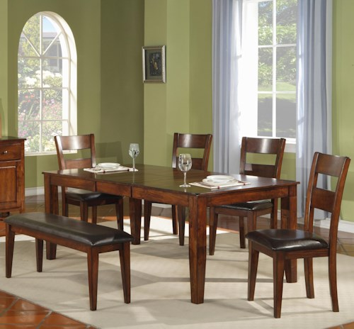 Holland House 1279 Mango Wood Leg Table with Side Chairs and Bench