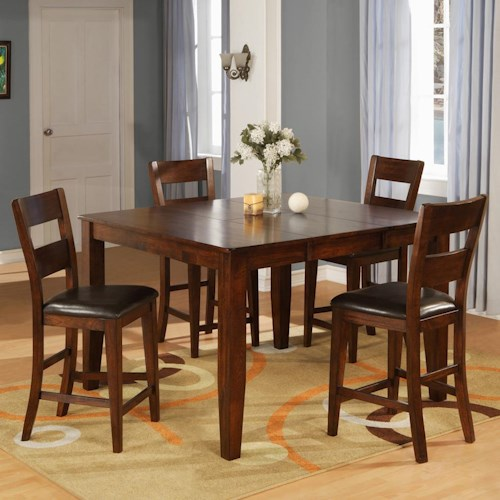 Warehouse M 1279 Mango Pub Table Set with 4 Bar Stools