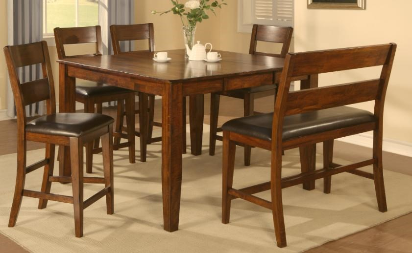 Holland House 1279 Counter Height Table With 4 Counter Chairs And Counter  Bench