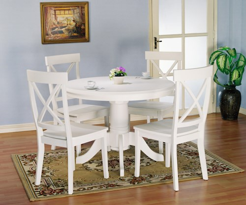 Holland House 1280 5 piece Round Kitchen Table and X Back Side Chairs Set. Holland House 1280 5 piece Round Kitchen Table and X Back Side