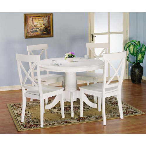 Holland House 1280 5 piece Round Kitchen Table and X Back Side Chairs Set