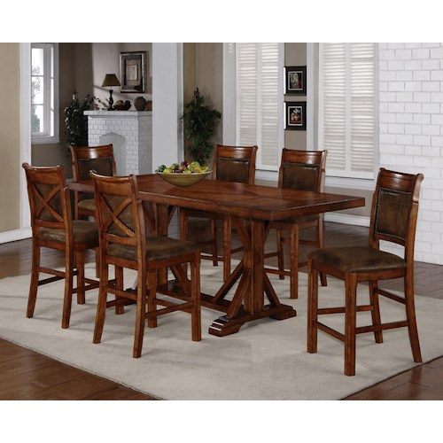 Holland House 1288 7 Piece Counter Height Trestle Table   X Back Chair Set. Holland House 1288 7 Piece Counter Height Trestle Table   X Back