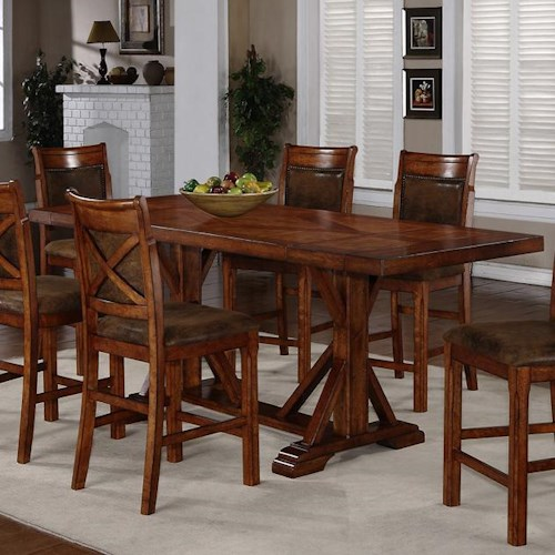 Holland House 1288 Trestle Counter Height Table with 2 Leaves