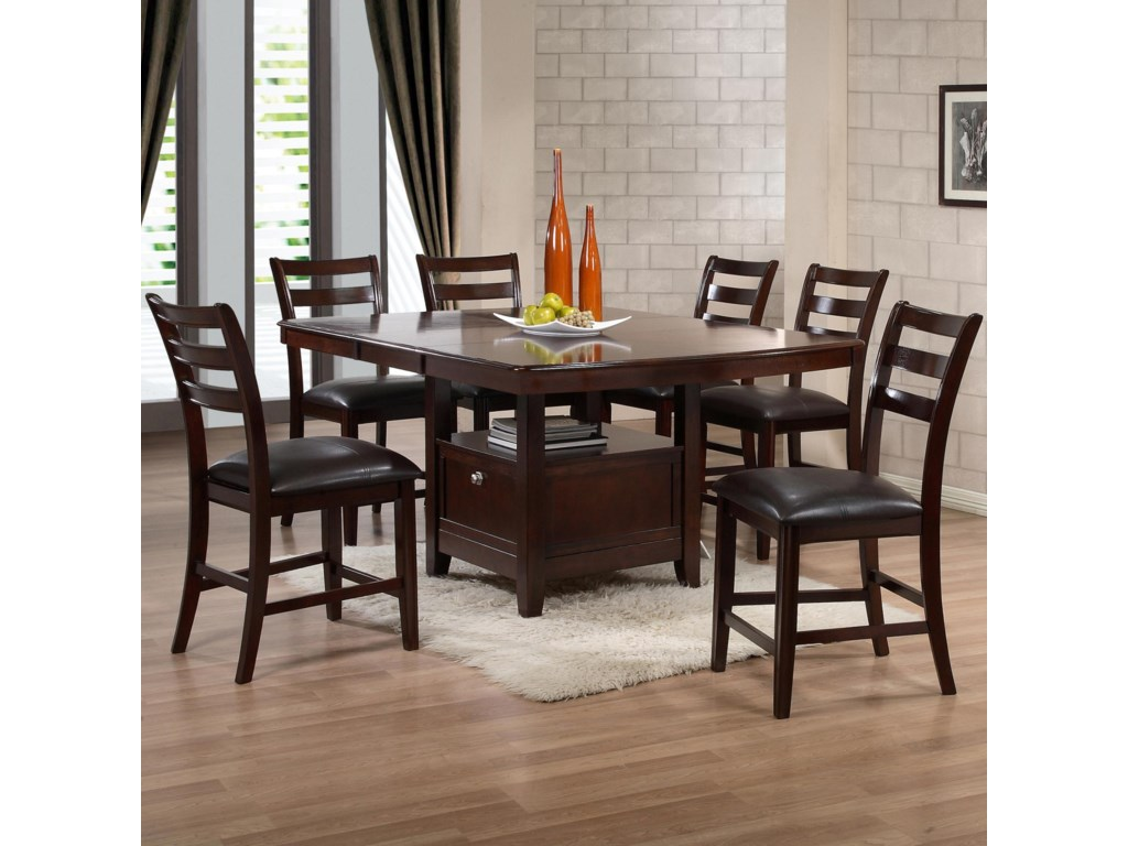 Holland House 1965 Dining Contemporary Seven Piece Pub Set With Wine Storage