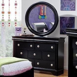 Holland House Petite Louis 2 Black 7 Drawer Dreser & Wood Frame Mirror Set
