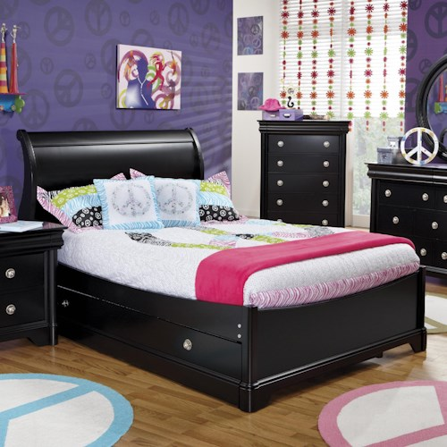 Holland House Petite Louis 2 Black Full Sleigh Bed with Trundle Unit