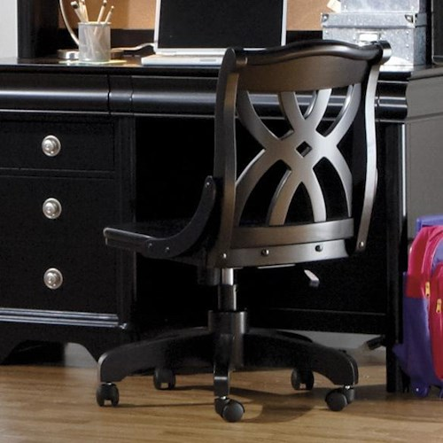 Holland House Petite Louis 2 Black Office Desk Chair with Casters
