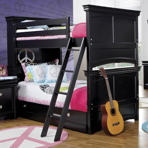 Holland House Petite Louis 2 Black Twin Bunk Bed with Ladder