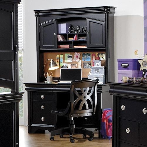 Holland House Petite Louis 2 Black Computer Pedestal Desk & Hutch