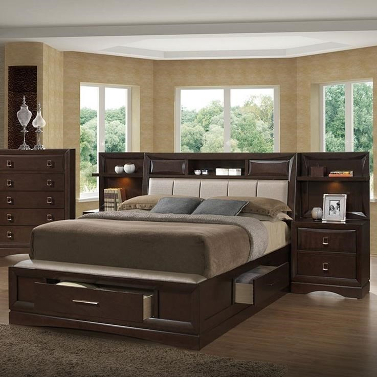 Holland House FranklinQueen Bookcase Bed with 2 Night Stands/Piers