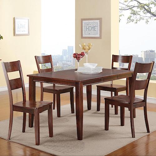 Holland House 8203 5 Piece Dining Set with Rectangular Leg Table