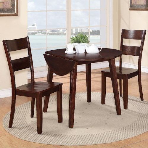 Holland House 8203 3 Piece Dining Set with Drop Leaf Table