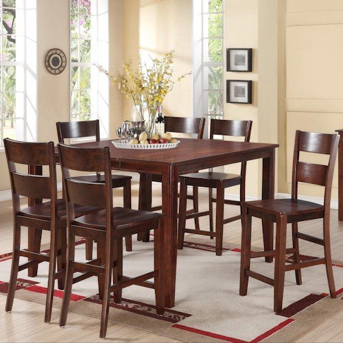 Holland House 8203 7 Piece Counter Height Dining Set with Square Table