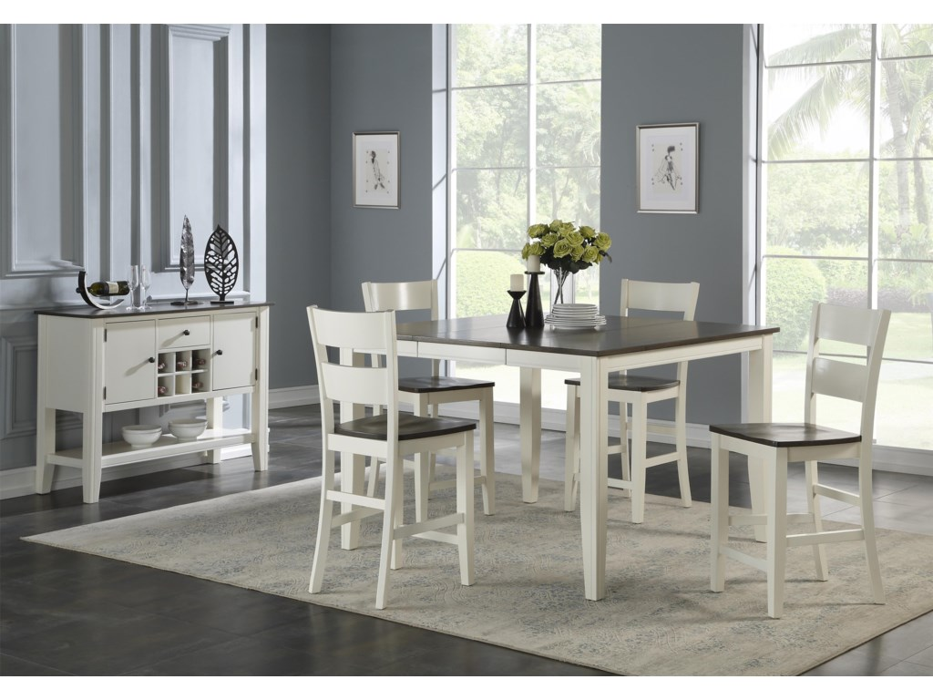 Hathaway Carey WhiteCounter Table + 4 Stools