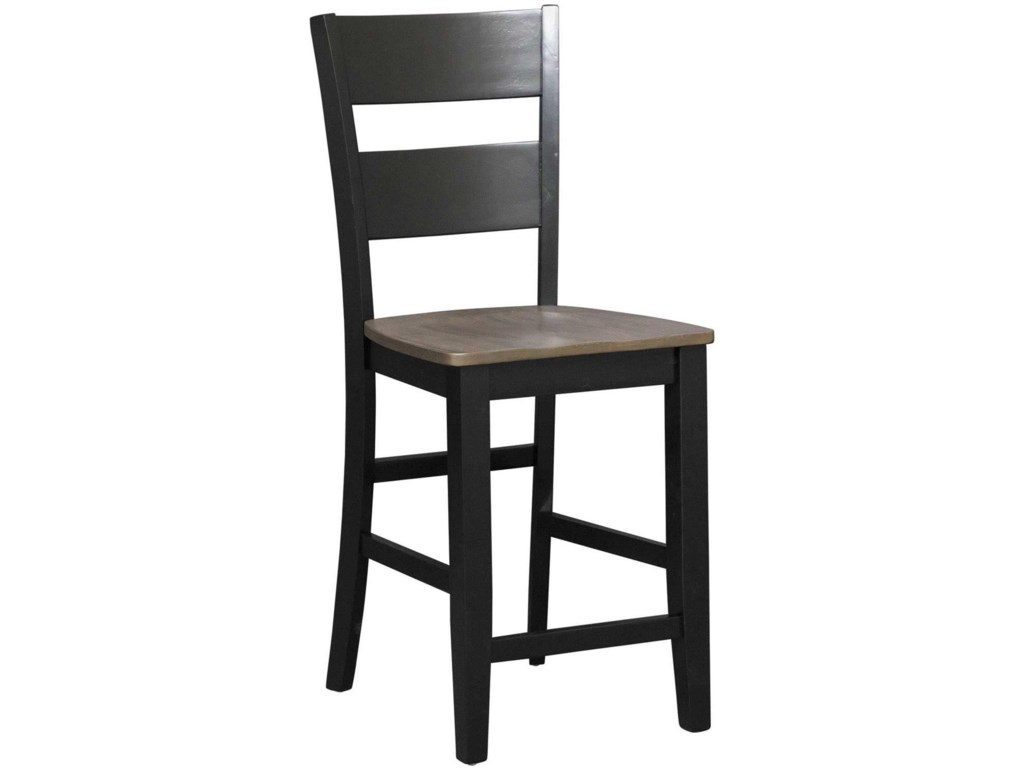 Holland House EarlCharcoal & Ebony Counter Table with 6 Chairs