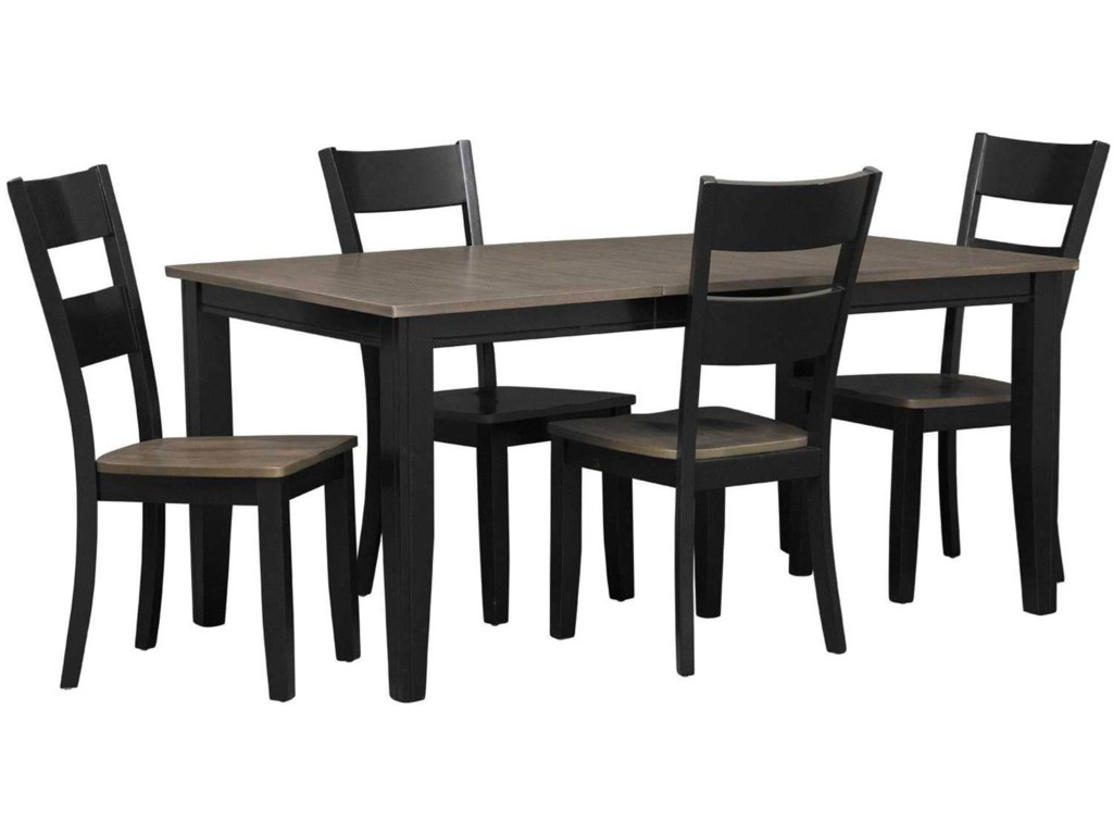 Holland House EarlCharcoal & Ebony Dining Table with 6 Chairs