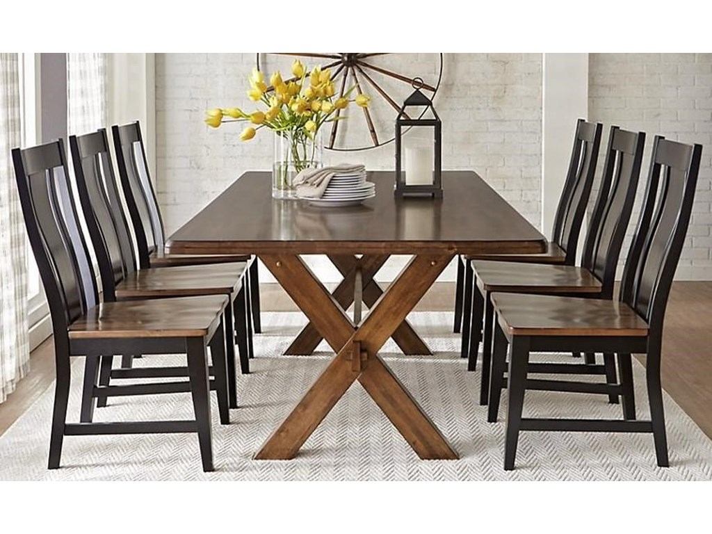 9108 7 Piece Solid Wood Dining Table With X Base Trestle By Warehouse M At Pilgrim Furniture City