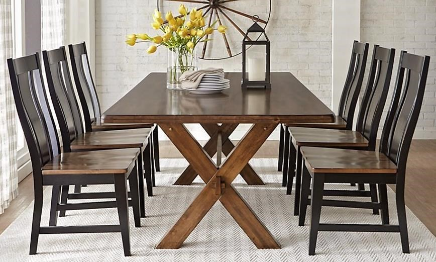 Warehouse M 9108 7-Piece Solid Wood Dining Table with X Base Trestle ...