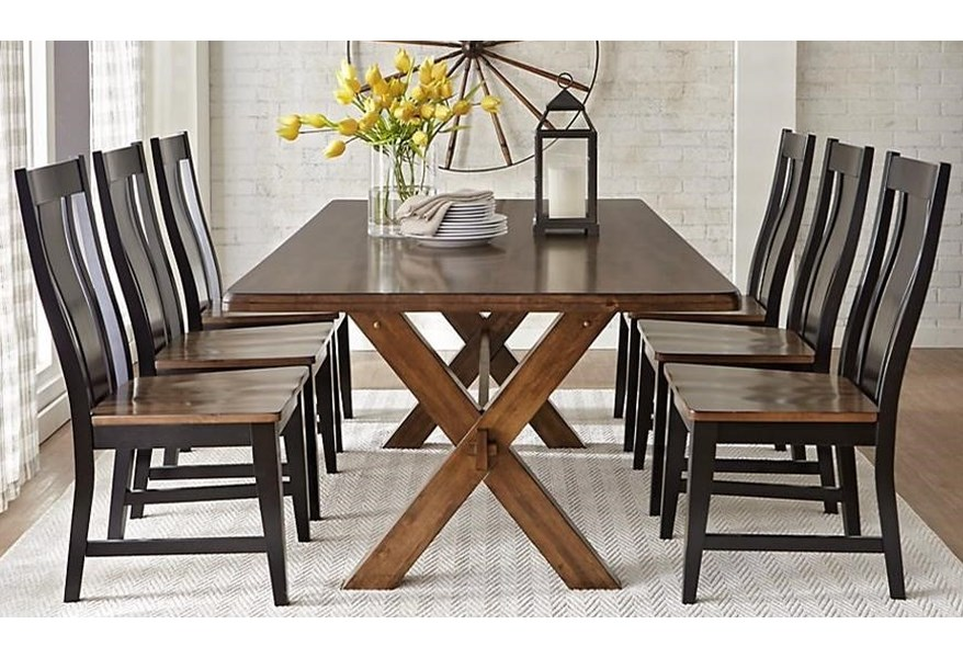 Warehouse M 9108 9108 Xb 9109 884 4x9109 212 7 Piece Solid Wood Dining Table With X Base Trestle Pilgrim Furniture City Dining 7 Or More Piece Sets