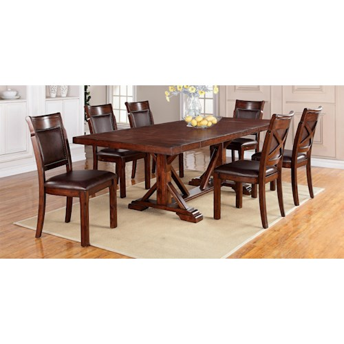 Holland House Cascade Trestle Table + 6 Chairs