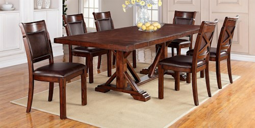 Warehouse M Adirondack 7-Piece Dining Table Set with Trestle Table & Upholstered Side Chairs