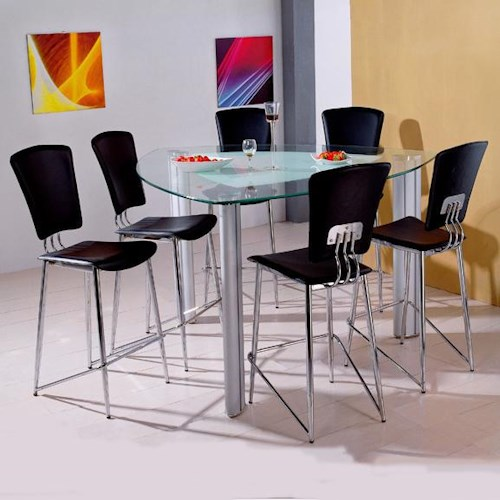 Holland House Bay Front 7 Piece Triangle Glass Pub Table