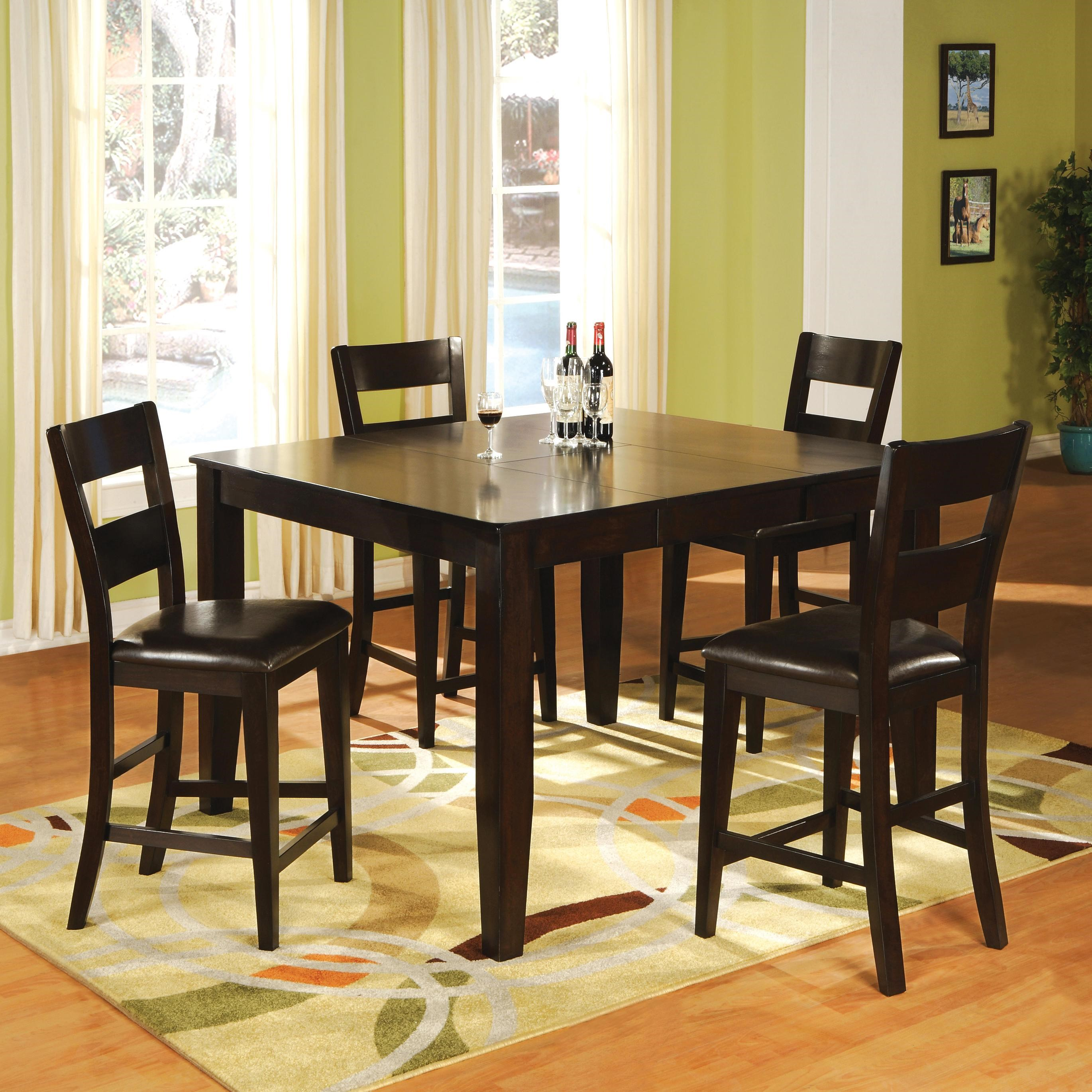 holland house bend 5 piece square top table and ladder back chair pub dining set