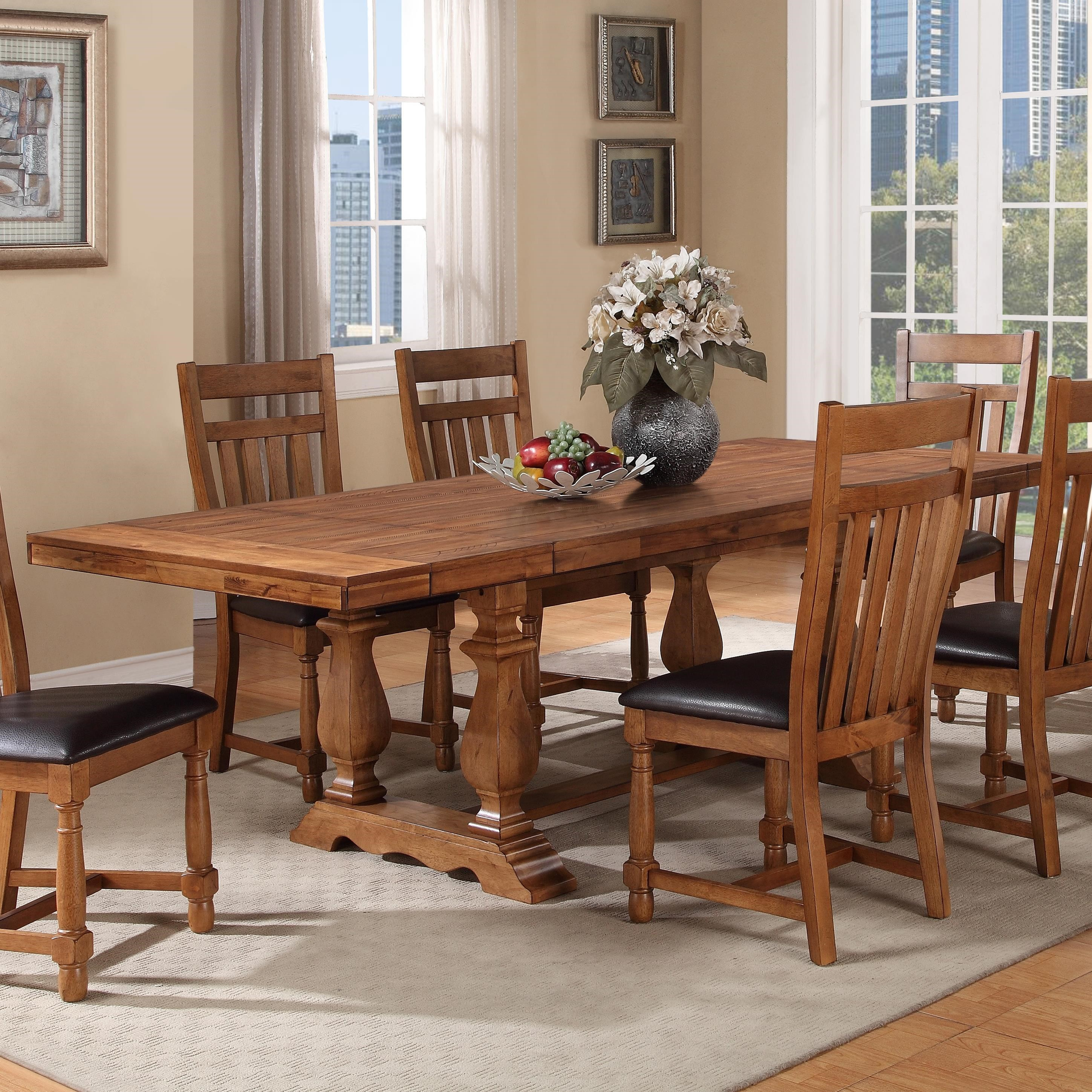 Warehouse M Bryce Canyon Transitional Trestle Table With Two Leaves