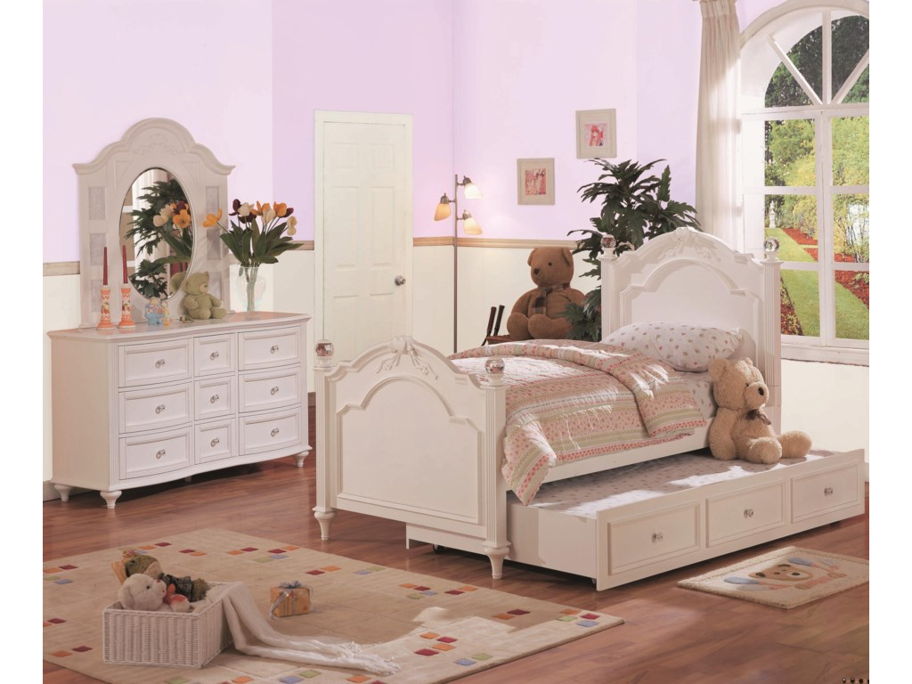 Shown in Room Setting with Dresser, Bed and Trundle
