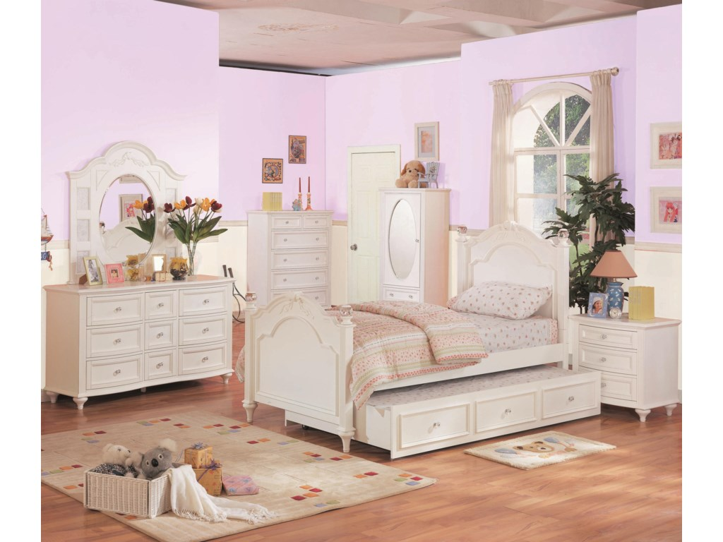 Shown in Room Setting with Dresser, Mirror, Chest, Bed, Trundle and Nightstand