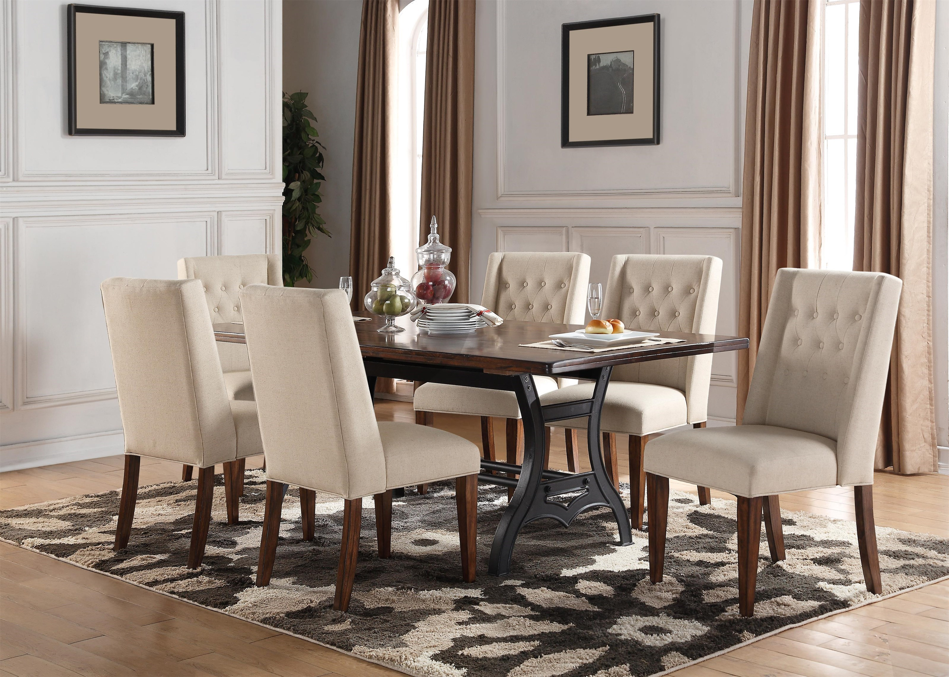 Creston 5 Piece Dining Set With 4 Button Tufted Chairs