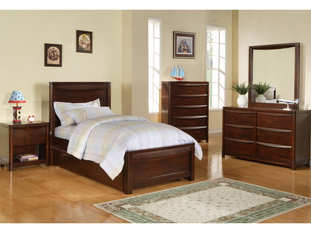 Shown with Nightstand, Twin Panel Bed, Dresser, and Mirror