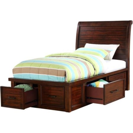 TWIN SLEIGH BED WITH STORAGE WITH DRAWERS