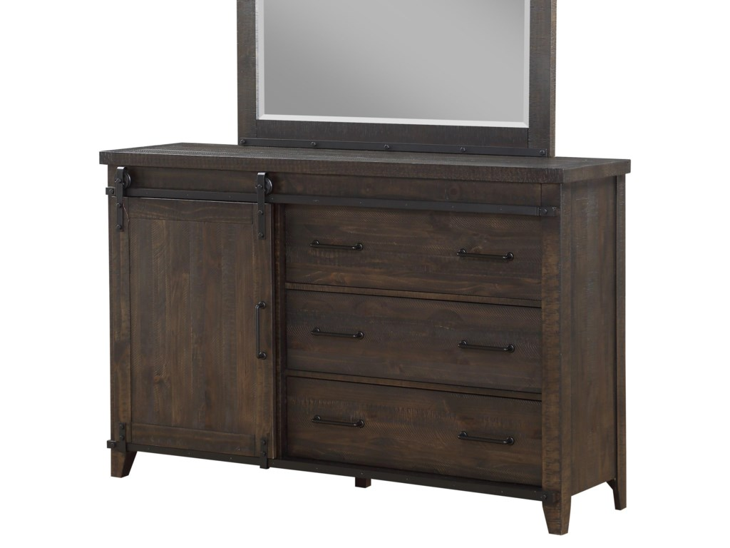 Montana Drawer Dresser with Barn Door Hardware & Soft-Closing Drawers by  Holland House at Royal Furniture