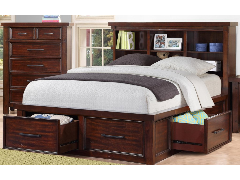 Sorrento 2688 Full Bookcase Storage Bed Morris Home Bookcase Beds